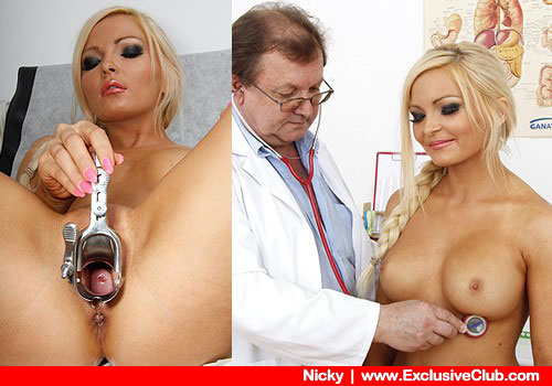 Amazing blonde gets inspected by a Clinician