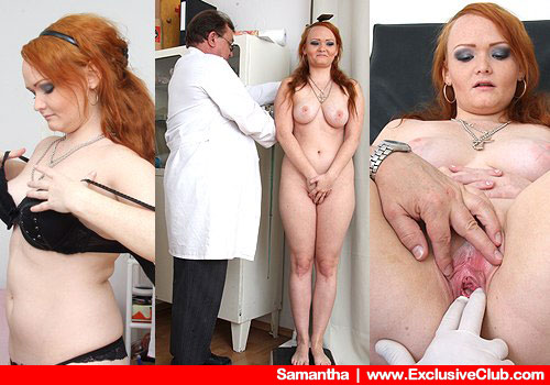 Big-breasted Redhead Strips-down Lingerie to Get Checked by Medic