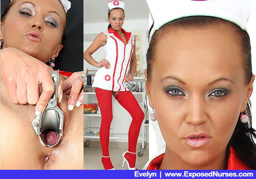 Frail Female in Practical nurse Uniform, Red Nylons and High High-heels