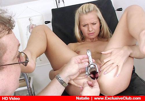 Youthful Blonde Natalie Stretches Legs on Strange medicinal midst Futon